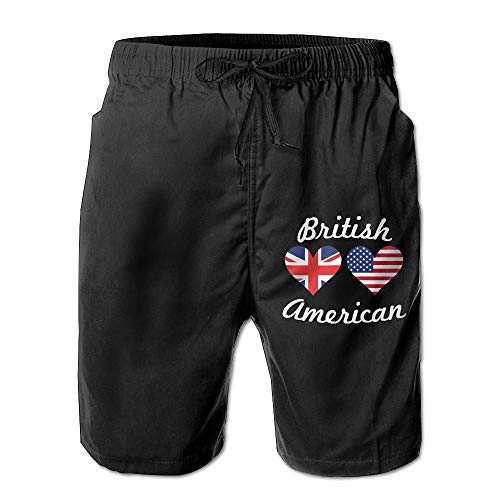 British American Flag Hearts Men's Summer Casual Shorts Home Shorts with Pockets Quick Dry Swim Trunk S Heart Cord-hose