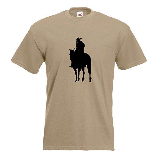 KIWISTAR - Cowboy Reiter T-Shirt in 15 verschiedenen Farben - Herren Funshirt bedruckt Design Sprüche Spruch Motive Oberteil Baumwolle Print Größe S M L XL XXL Khaki