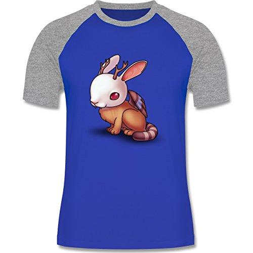 Sonstige Tiere - Wolpertinger - zweifarbiges Baseballshirt für Männer Royalblau/Grau meliert