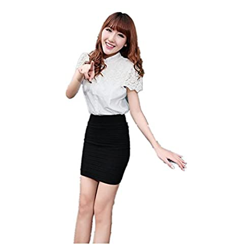 Vovotrade ❤❤Heiß !!!1PC Art- und Weisefrauen elastischer gefalteter hoher TaillenPaket hüfter kurzer Rock (Square Pants Kostüm)