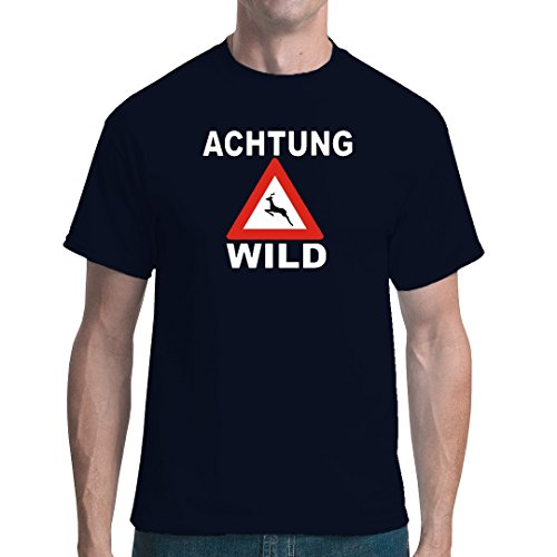 Fun unisex T-Shirt - Achtung, Wild by Im-Shirt Navy