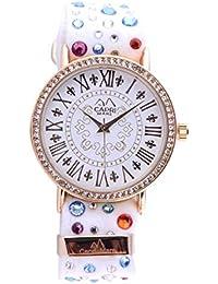 Capri playa Reloj de mujer Colección pizzolungo Gold con piedras y correa de tela Sartoriale Bianco