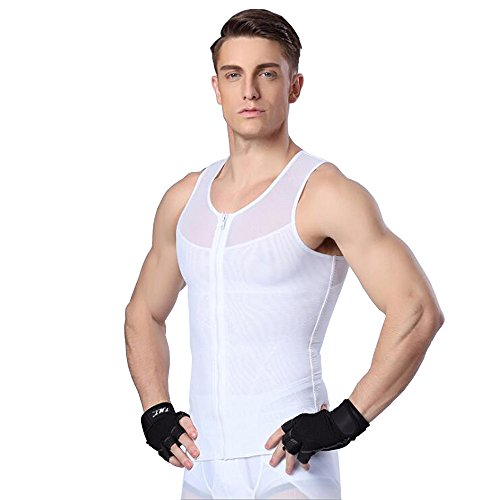 U-Pretty Herren Slimming Waist Chest Body Shaper Girdle Undershirt Vest (M, Weiß)