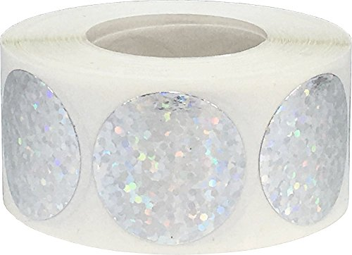 Silber Funkeln Hologramm Kreis Punkt Aufkleber, 25 mm 1 Zoll Runde, 500 Etiketten auf einer Rolle