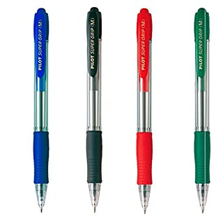 Pack of 4 Supergrip Pens 1 Blue 1 Black 1 Red 1 Green