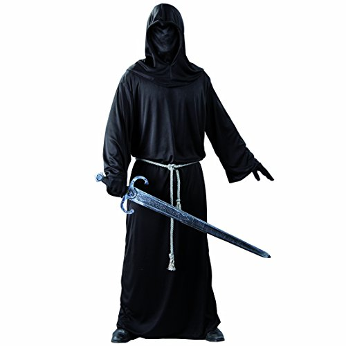 Kostüm Schwarzer Ritter Phantom Halloweenkostüm L 52/55 Gevatter Tod Verkleidung Krieger der Schatten Outfit Herrenkostüm Grim Reaper Geister Gewandung Sensenmann (Tod Krieger Kostüm)