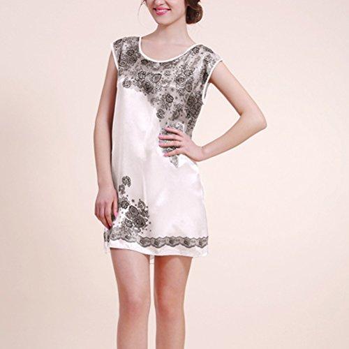 Zhhlaixing Womens Ladies Silk Satin Sleeveless Vest Chemise Nightdress white