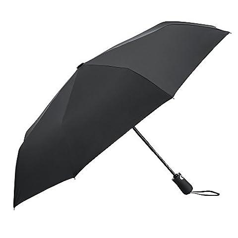 PLEMO Parapluie Pliant Homme Femme Ouverture Fermeture Automatique télescopique Toile anti-UV 2-en-1 Classique Noir Acier Inoxydable Diamètre 96 cm