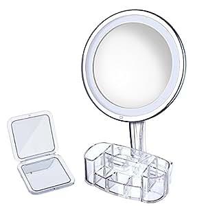 10x Specchio per Trucco Illuminato + Organizzatore Scatola Trucco,10x Ingrandimento,Morbido & Calda Luce LED, Luminosità Regolabile, Bloccaggio Ventosa, Rotazione 360°, Portatile & Compatto Progettazione, Specchio con Pile