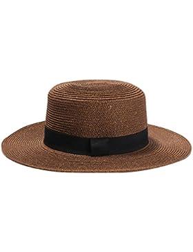 LINNUO Sombrero de Sol de Estilo Clásico Para Mujer Sombrero de Bowknot Sombrero de Paja Elegante de Verano