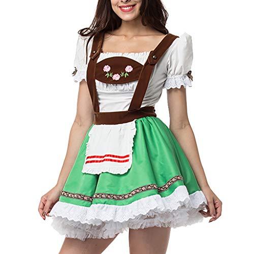 Fenverk Alice im Wunderland Anime Kellnerin Kostüm Lolita Kleider Dienstmädchen-Outfit für Restaurant/Festival/Party/Abschlussball/Halloween(Grün,L)