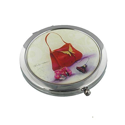 Sophia 7cm argento placcato specchio compatto-Carnaby design