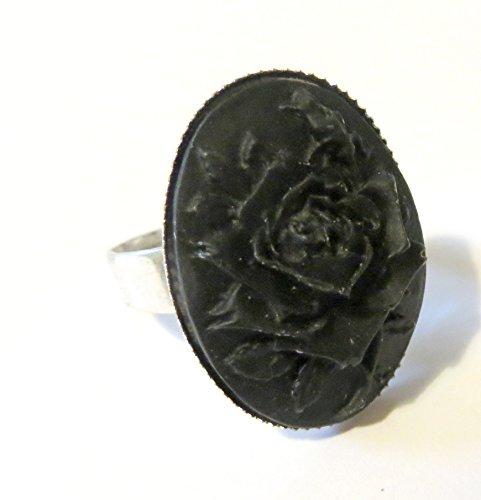 Anello gotico regolabile con cammeo 25x18mm rosa nera gothic victorian black rose cameo ring