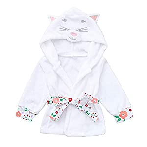 Kids Cat Print Hoodie, Familizo Toddler Baby Boys Girls Long Sleeve Bathrobe Cat Print Hoodie Night-Gown Clothes Comfortable Casual Baby Clothes for Indoor Outdoor White
