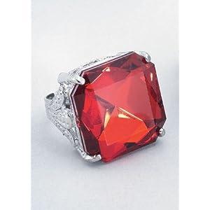 Anello gioiello rosso grande costume medievale