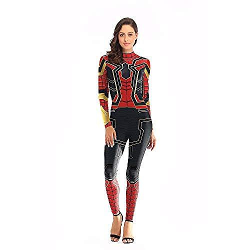 Karneval Anzüge Frauen Spiderman Bodysuit Kostüm Spandex Overalls Eisen Spiderman Kostüm Weihnachten Halloween Show Cosplay Kostüm Frauen Kleidung Rot-S/M-rot_S / M,Halloween Anzug (Eisen Spiderman Kostüm)