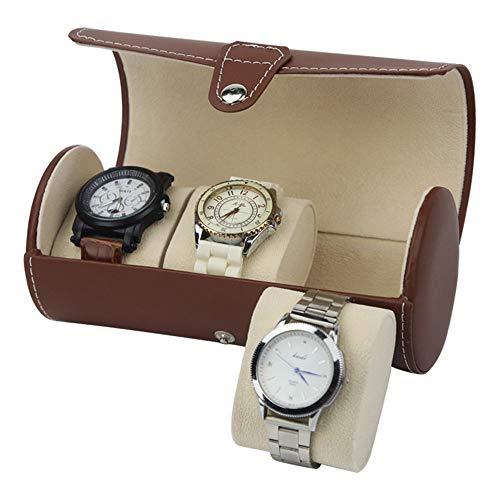Sehen Box Fall Veranstalter PU-Leder-beweglicher Zylinder-Uhr-Kasten-Uhr-Anzeigen-Aufbewahrungsbehälter für 3 Uhren Schmuck-Displayablage für Männer, Frauen ( Farbe : Braun , Größe : Einheitsgröße ) -