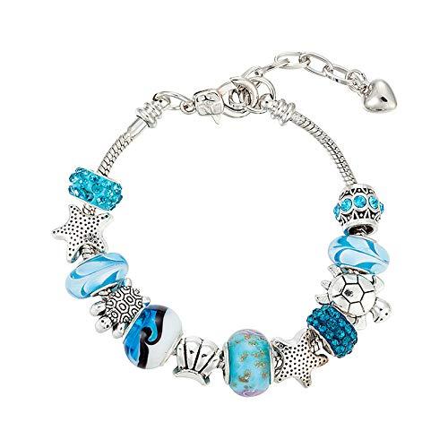 Wwf bracciale pandora fai da te regolabile bracciale 18 + 5cm perline di vetro blu bracciale femminile,argento,taglia unica