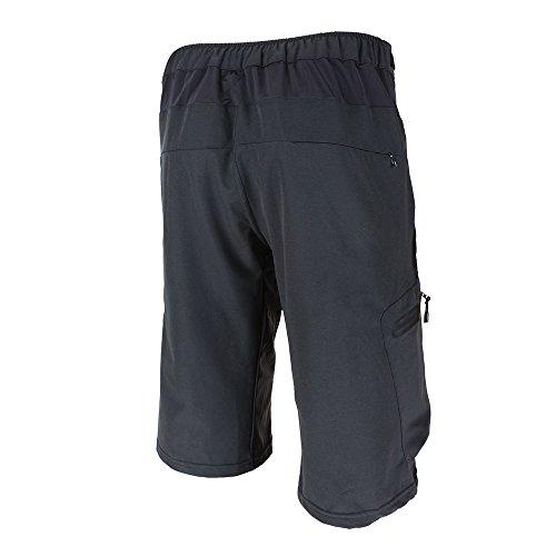 Lixada Herren Kurze Hosen, Männer Fahrradhose, Atmungsaktiv Radhose, Schnelltrocknende MTB Hose - Wasserabweisend Outdoor Hosen/Wanderhose, Schwarz, XXL(CN)=XL(EU)