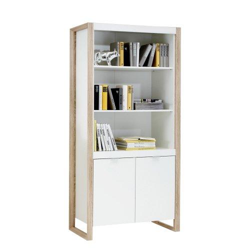 FMD Möbel 361-003 Regal Frame 3, 91 x 185 x 40 cm, weiß / eiche