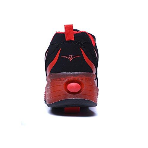 LILY999 Unisex Kinder Led Schuhe Mit Rollen Jungen Mädchen Skateboard Rollschuhe mit ein Rad 7 Farbe Farbwechsel Sneaker Schwarz Rot
