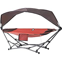 SHARESUN Hamac avec auvent et Support, hamac inclinable portatif et Pliable en Toile ventilée, lit de Camp, pour Plage en Plein air pour Camping intérieur, 112kg, avec Sac de Rangement,L