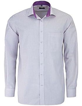 ETERNA Comfort Fit Hemd extra langer Arm Besatz Karo lila AL 68