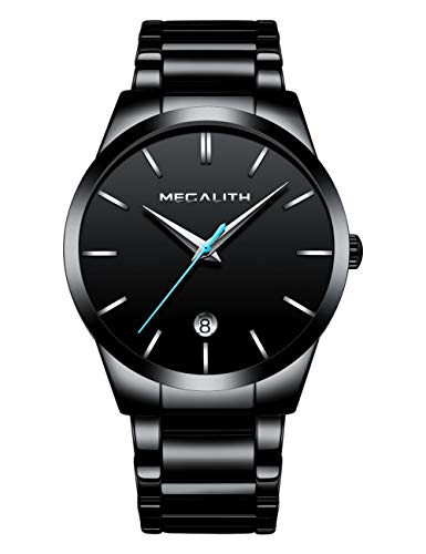 Herren Uhren Männer Wasserdicht Klassisch Datum Schwarz Edelstahl Armbanduhren Mann Einfach Analog Quarzwerk Uhr mit Blau Zeiger