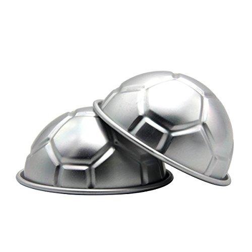 Cadillaps 3D Fußball Kuchenform Aluminiumlegierung 2er Halbkugel Backform Tortendekoration Küchehelfer