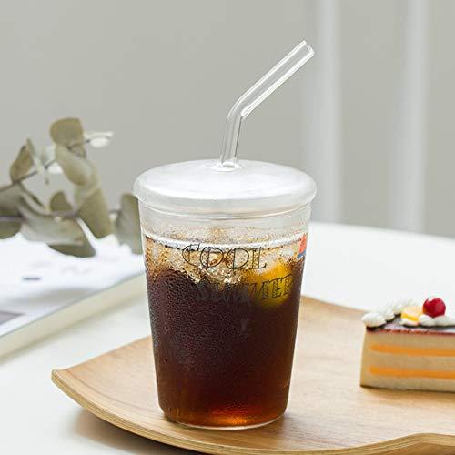 Stroh Becher transparent Glas kaltes Getränk Tasse Limonade Stroh Tasse Runde hitzebeständige Teetassen Glas Stroh mit Deckel,Stil 3,350 ml ()