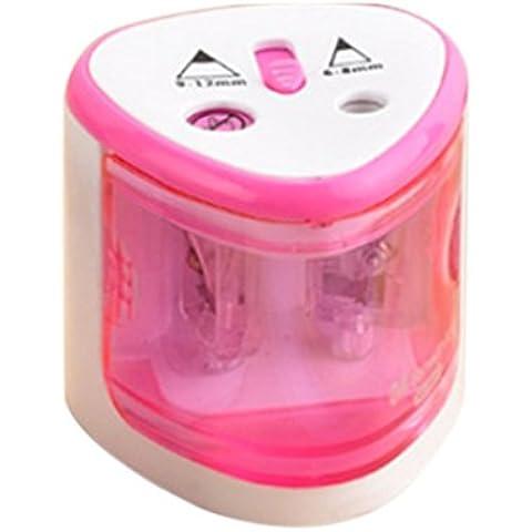 Temperamatite, Foxom temperamatite elettrico con grandi e piccoli fori per casa scuola ufficio ,6–12mm temperamatite per matite specialista in pittura argento 7.5*7.5*7cm Pink