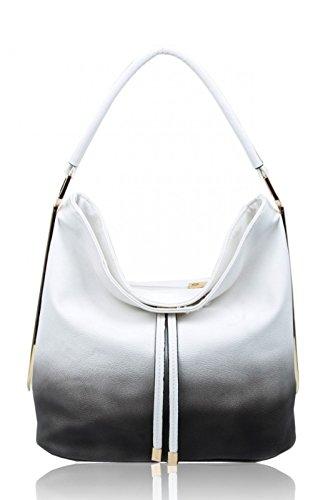 LeahWard Frauen Schultertaschen Nizza Faux Leder Kreuz Körper Tasche Tote Handtaschen CW160931 (Weiß/Alt-Weiß Hobo Tasche) (Chloe Handtasche Weiß)