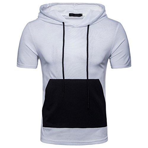 Preisvergleich Produktbild VENMO Herren Sommer Casual Patchwork Hoodie Kurzärmlige T-Shirt-Bluse mit Kapuze Herren Tanktop Tank Top Tankshirt T-Shirt mit Print Unterhemden Ärmellos Weste Muskelshirt (White, L)