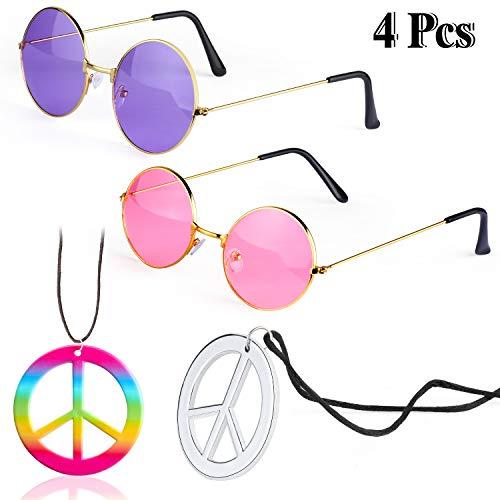 Beefunny Hippie Costume Accessories Set 2 Pezzi Occhiali da Sole Hippy Occhiali e 2 Pezzi Collana Segno Pace (B)