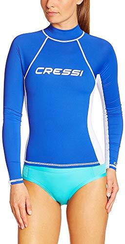 Cressi Sub S.p.A. Rash Guard Lady Long Femme Haute de Combinaison en Tissu très élastique spéciale - Manches Longues Protection Solaire UV (UPF) 50, Royal Bleu/Blanc, XL/5 (44)