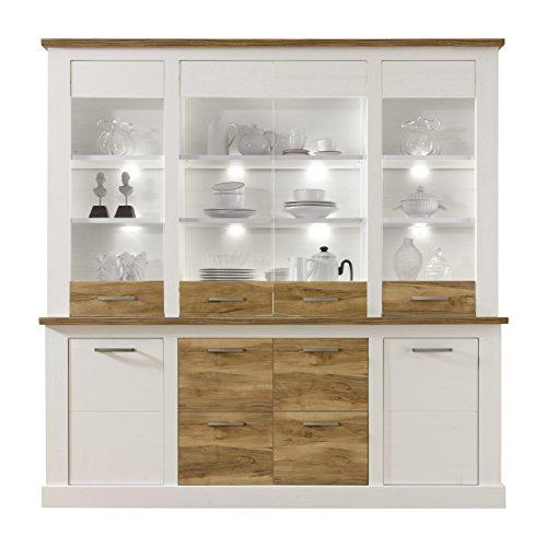 trendteam smart living Wohnzimmer Highboard Schrank Toronto, 210 x 210 x 42 cm in Korpus Pinie Weiß