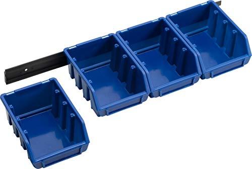 Meister Lagersichtboxen - Größe 2 - Blau -  4 Stück - Inklusive Kunststoffschiene / Stapelboxen...