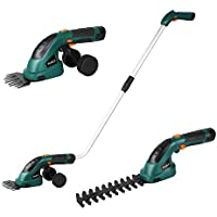Fixkit 7.2V 2 in 1 Cordless Grass and Hedge Trimmer, 2 Interchangeable Blades, Battery Powered Lightweight Electric Trimmer,Telescopic Handle & Trolley Wheel Attachments