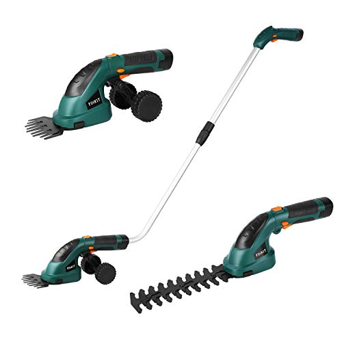 Fixkit 7.2V 2 in 1 Cordless Grass and Hedge Trimmer, 2 Interchangeable Blades, Telescopic Handle & T