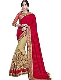 SareeShop Women's Georgette Embroidered Saree With Blouse Piece(Lakshmi-4005-SAREE01_Red_COLOUR)