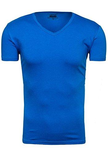 BOLF T-Shirt Herren Unifarben Classic Kurzarm Party Slim V-Neck [3C3] Sport Blau