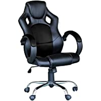 Racing Gaming Computer Office Chair Executive Swivel Ergonomic with High Back Mesh Bucket Seat Aluminum Chrome Base Armrest - EBS Black Mesh Black PU Leather