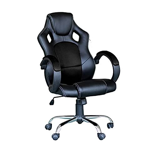 Racing Gaming Desk Chair Computer Swivel Executive Office Ergonomic with High back and Mesh Bucket Seat Chrome Base - EBS Black Mesh PU Leather