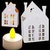 Kleines weißes Papphaus zum Bemalen und als Deko, mit LED-Licht
