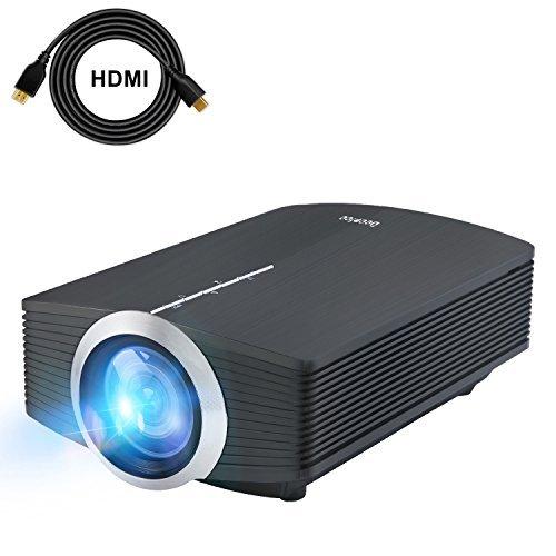 Deeplee DP500 Mini Beamer, LED Projektor 1600 Lumen HD für USB / HDMI / VGA / AV / SD Heimkino Videoprojektor für Outdoor Indoor Filmerlebnis und Heimkino