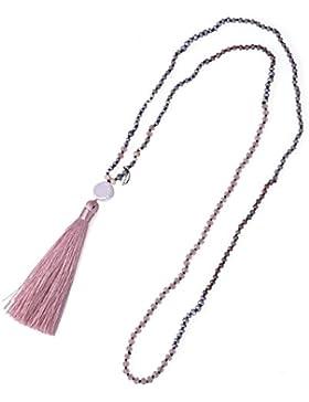 Mosaik Lange Y Gestalten Perle Halskette mit Kette Quaste Anhänger Damen Halskette Schmuck
