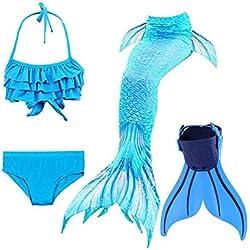 ShePretty Queues de Sirène Mermaid Bikini Maillots de Bain Costume Cosplay pour Filles Multicolore - Dh06 - Taille 140