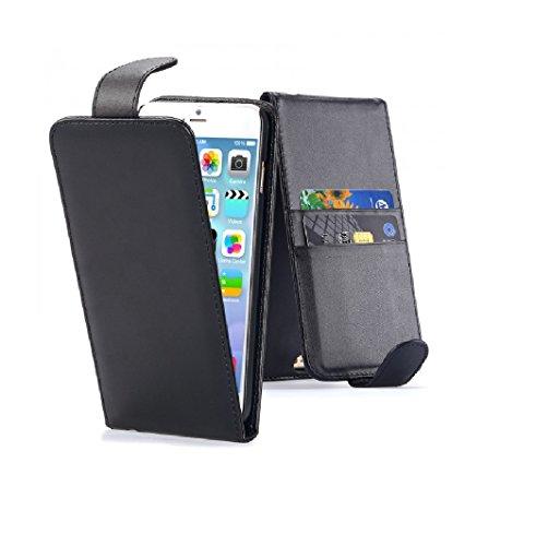 G4GADGET Étui à clapet imitation cuir pour iPhone 4 et 4S Noir noir