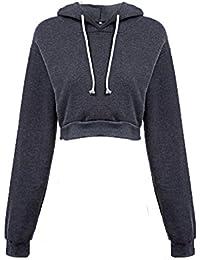 142cf1469cf4c2 Amlaiworld Sweatshirts Mode Kurz Pulli Langarmshirts Damen bauchfrei  komfortabel locker Sweatshirt weich Winter Herbst Kapuzenpullover für…