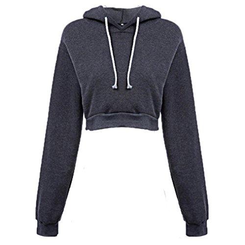 Amlaiworld Sweatshirts Mode Kurz Pulli Langarmshirts Damen bauchfrei komfortabel locker Sweatshirt weich Winter Herbst Kapuzenpullover für M?dchen (S, Dunkelgrau) -